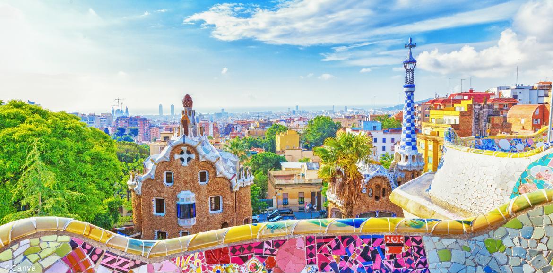 Un famosísimo parque de Barcelona, llamado Parque Güell