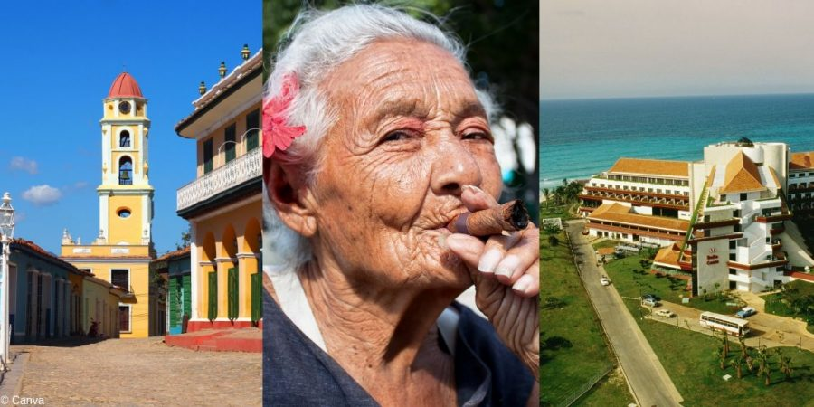 Imagen con algunas peculiaridades de Cuba, el Caribe