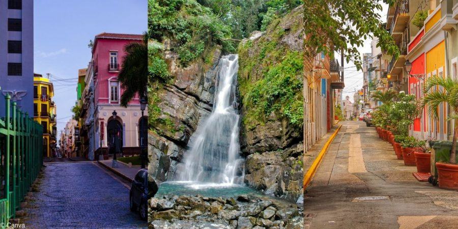 Imagen con algunas peculiaridades de Puerto Rico, el Caribe